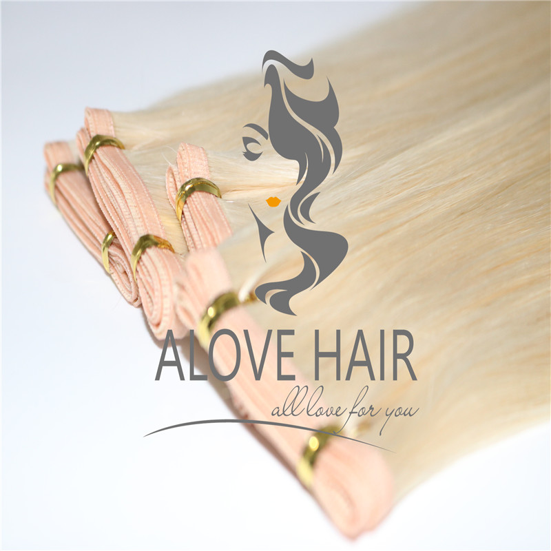 22 inch Blonde color flat track weft hair extensions