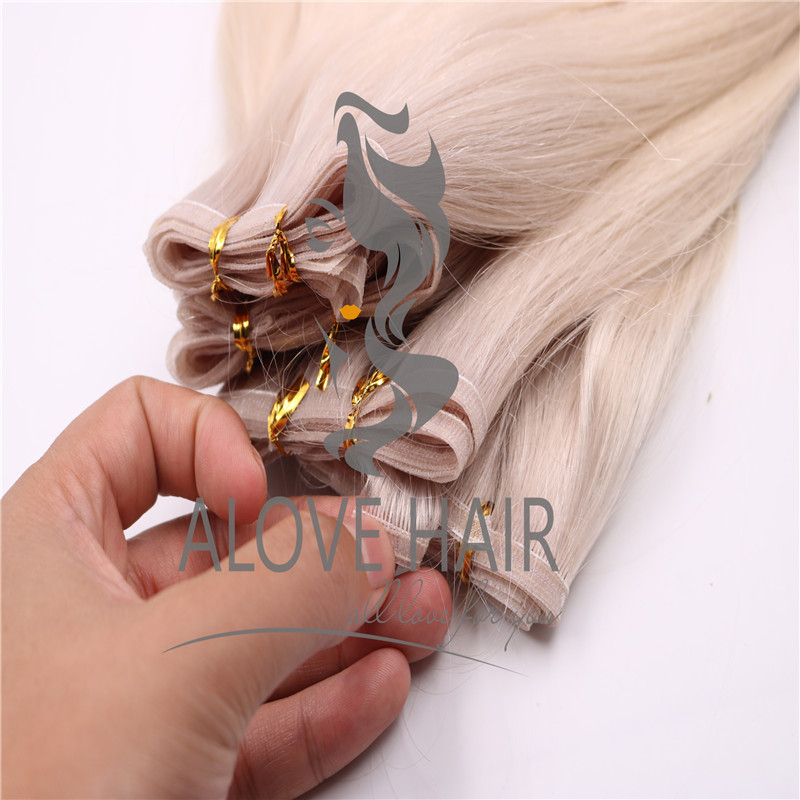 Ash blonde flat weft extensions manufacturer china