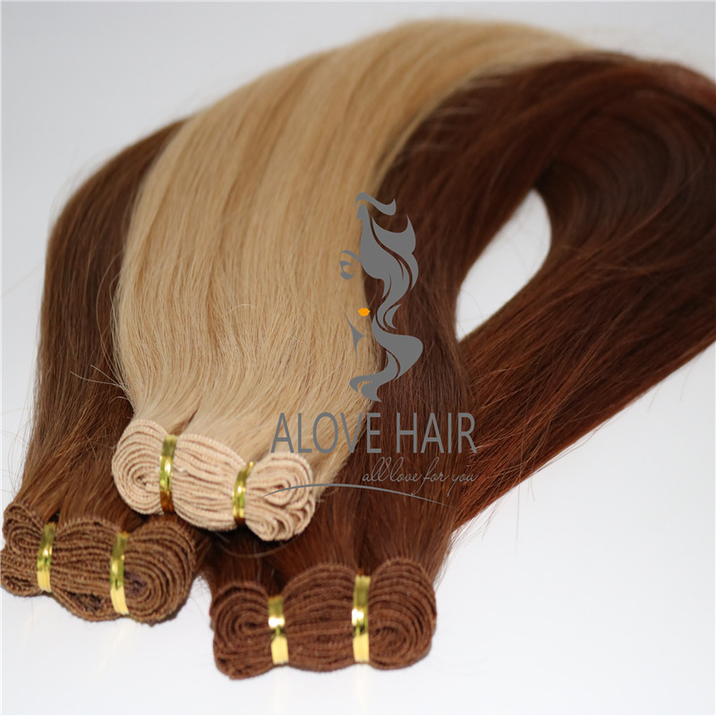 Best quality full cuticle remy hand tied  wefts wholesale