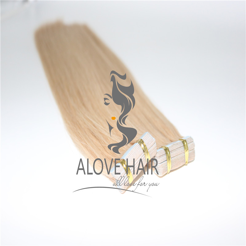 Blonde color tape ins extensions for thin hair