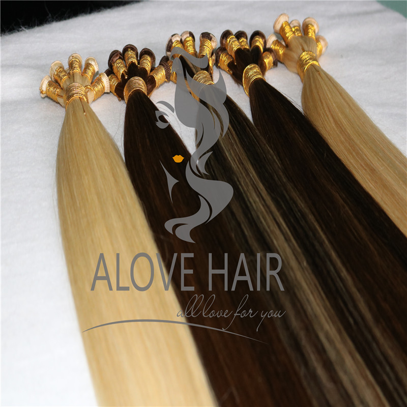 Cuticle intact remy hand tied weft hair extensions Melbourne