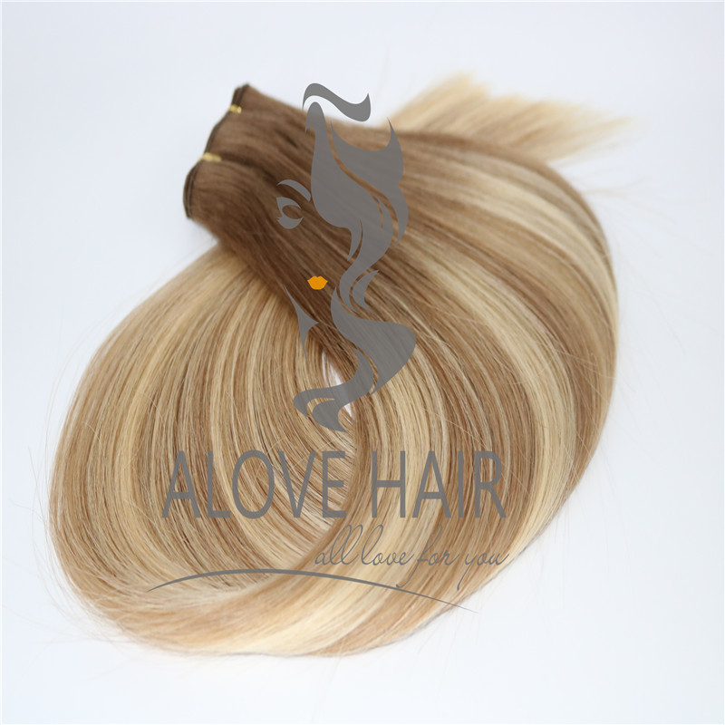 Double drawn balyage color hand tied hair extensions australia