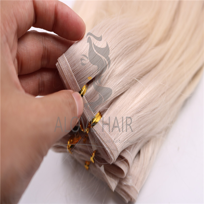 Full cuticle ash blonde luxe flat weft extensions