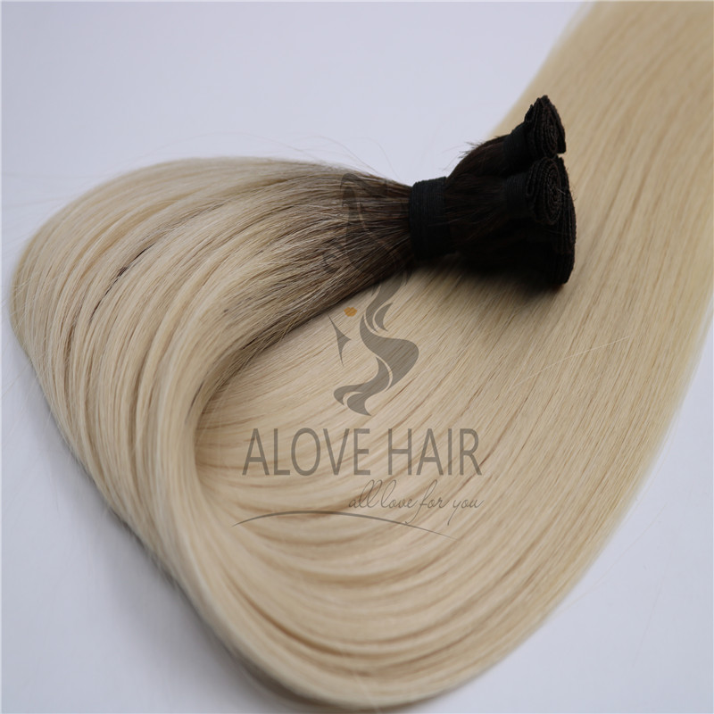 High quality hand tied human hair extensions