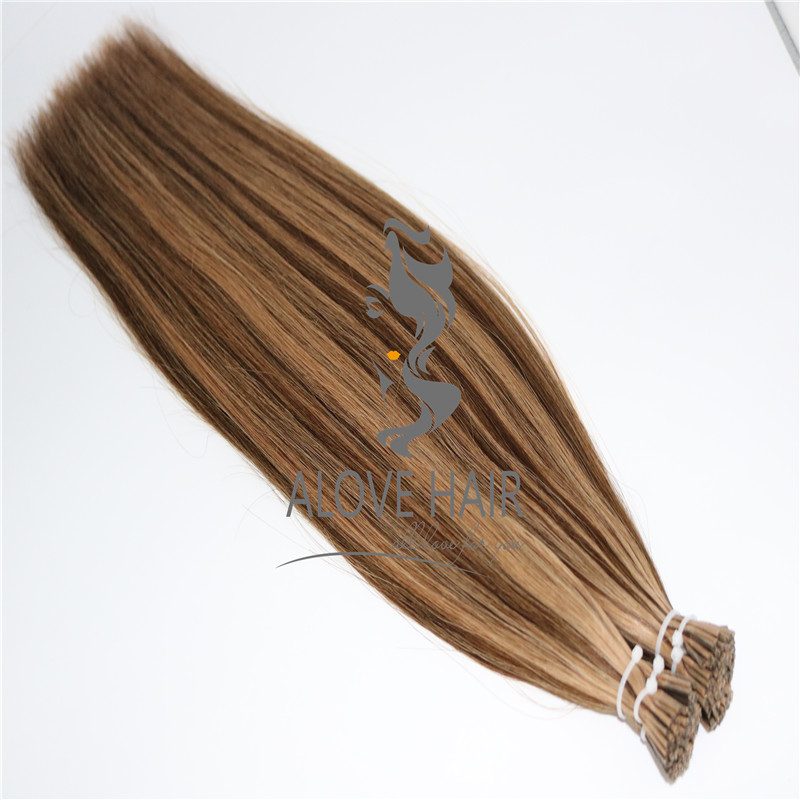 High quality satin strands flat i tip hair extensions