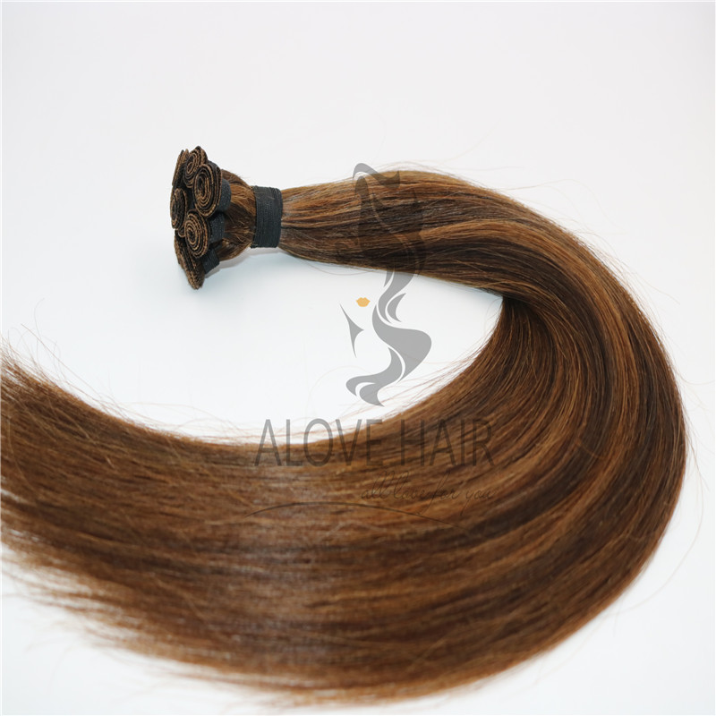 Mix color cuticle intact remy hand tied wefts