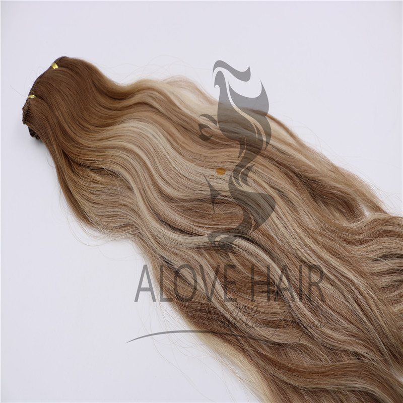Natural wave balayage color hand tied hair extensions utah