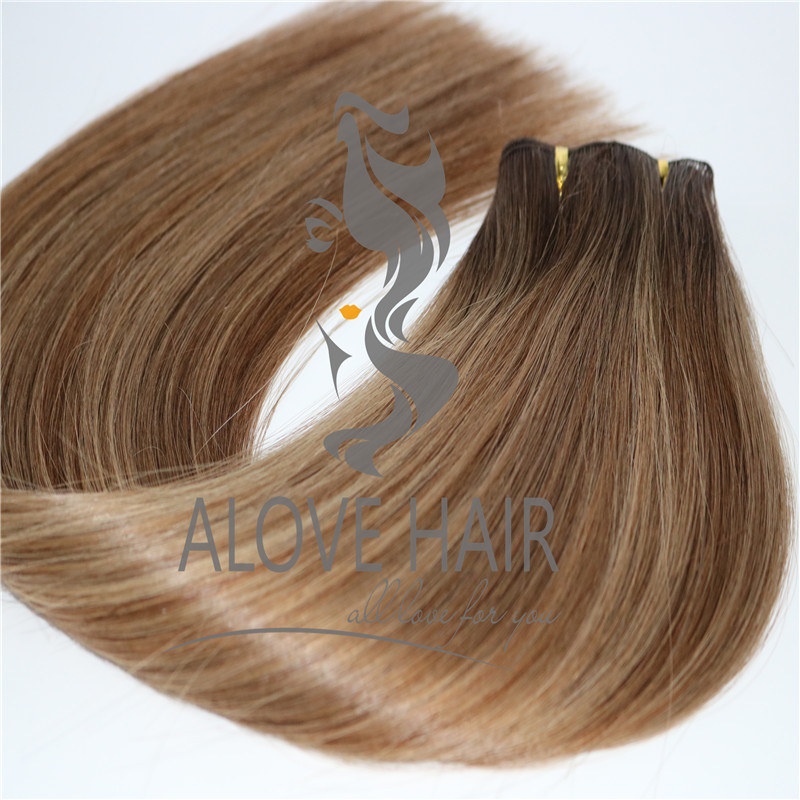 Russian Mongolian hand tied hair extensions orange country