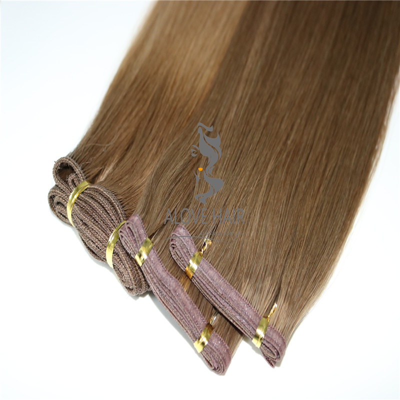 Slavic hair flat track weft hair extensions manufacturer in China