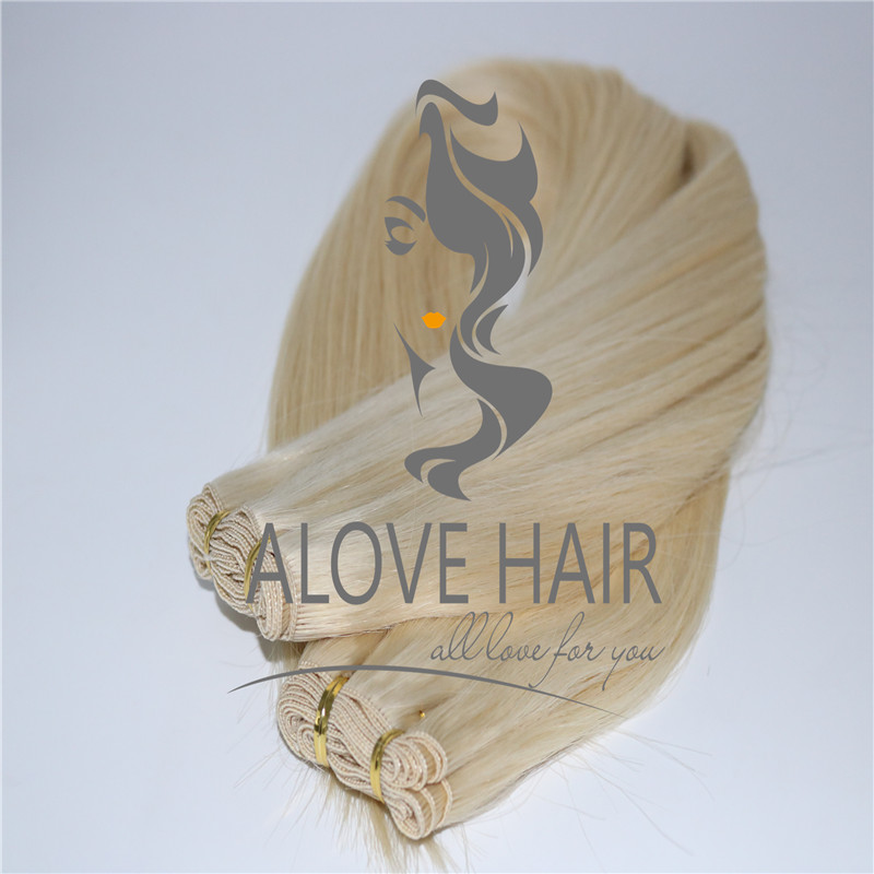 Wholesale blonde color hand tied weft extensions