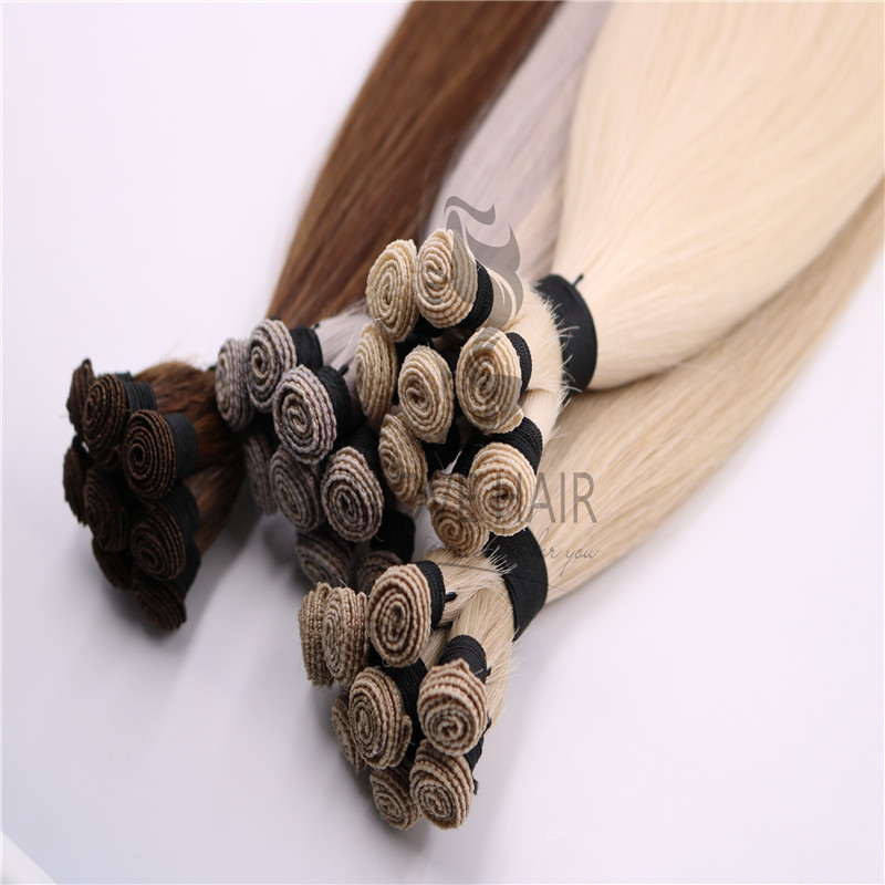 Wholesale different color hand tied human hair wefts
