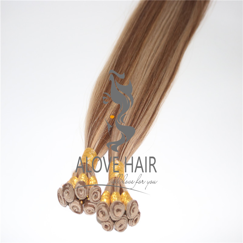 Hand tied wefts hair extensions wholesale