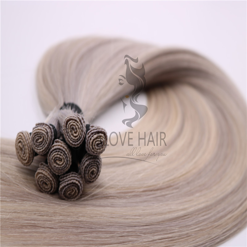 Wholesale blend hand tied hair extensions