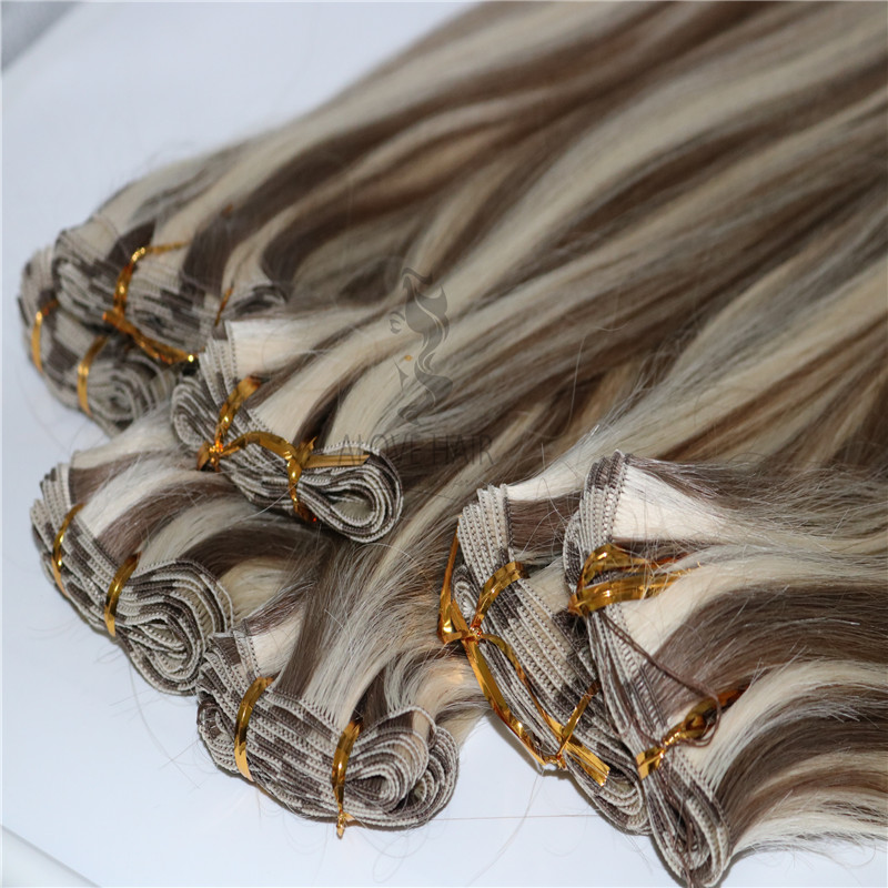 Wholesale P8/60 full cuticle hand tied hair extensions