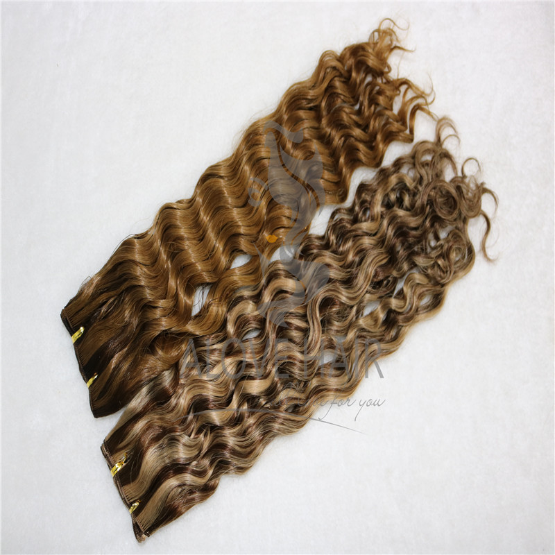 Cuticle intact remy balayage color wavy hand tied hair extensions