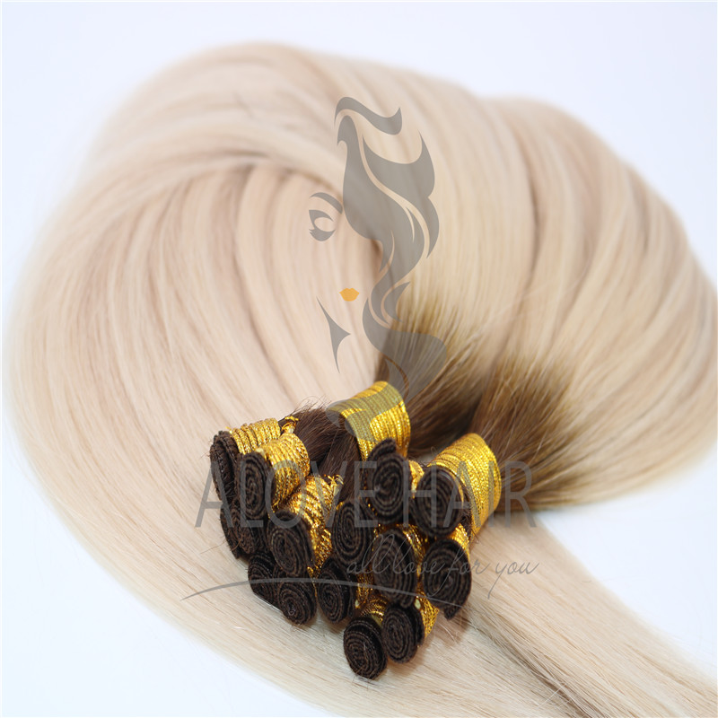 Wholesale no silicone ombre remy hand tied weft