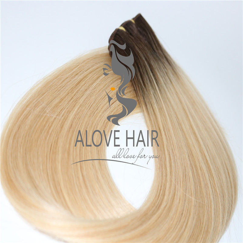 Wholesale ombre color machine weft hair extensions